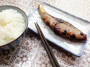 ぶりの粕漬けとご飯
